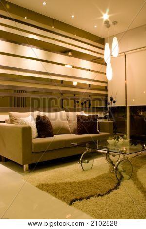 Elegant Living Room With Artistical Lights