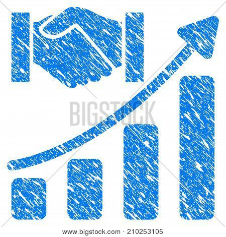 Grunge Acquisition Hands Growth Chart icon with scratched design and dust texture. Unclean vector blue Acquisition Hands Growth Chart pictogram for rubber seal stamp imitations and watermarks.