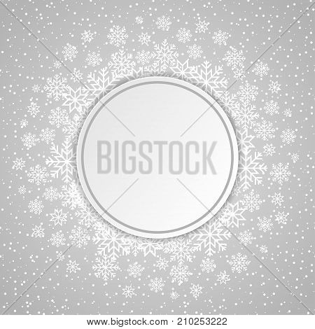 Winter elegant card template with snowflakes and dots. Circle with drop shadow. Christmas and New Year design