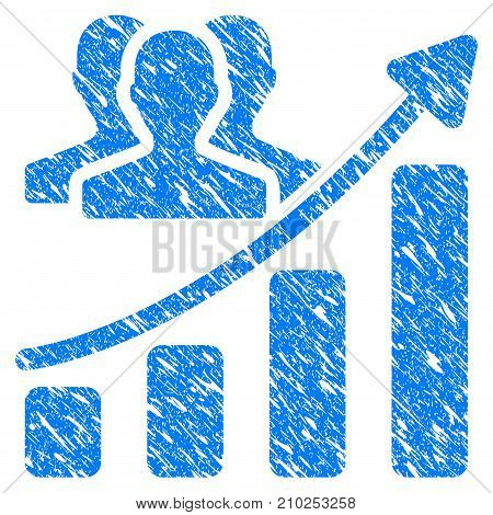 Grunge Audience Growth Chart icon with scratched design and dirty texture. Unclean vector blue Audience Growth Chart pictogram for rubber seal stamp imitations and watermarks. Draft sticker symbol.