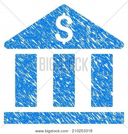 Grunge Bank Building icon with scratched design and dirty texture. Unclean vector blue Bank Building pictogram for rubber seal stamp imitations and watermarks. Draft emblem symbol.