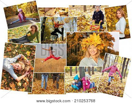 Collage with two woman and three children in autumn leaves, outdoor