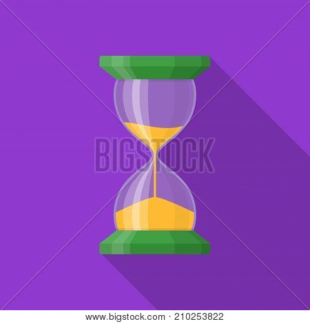 Transparent sandglass icon on background with long shadow. Time hourglass in flat style. Sandclock vector illustartion.