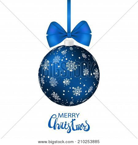 Blue Christmas ball with white dots and snowflakes hanging on silk ribbon isolated on white. Blue bow xmas realistic decoration Merry Christmas lettering. Card template