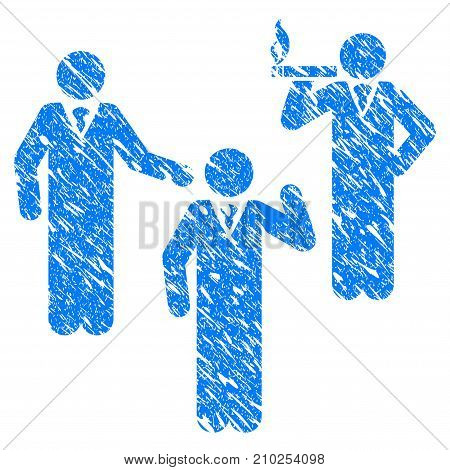 Grunge Discuss Standing Persons icon with scratched design and grungy texture. Unclean vector blue Discuss Standing Persons pictogram for rubber seal stamp imitations and watermarks.