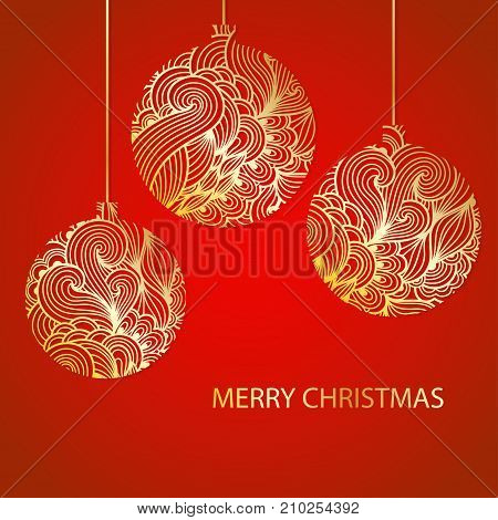 Vector Christmas background with decorative golden christmas balls. New Year ornate floral baubles silhouette. Paper cut decorations card template