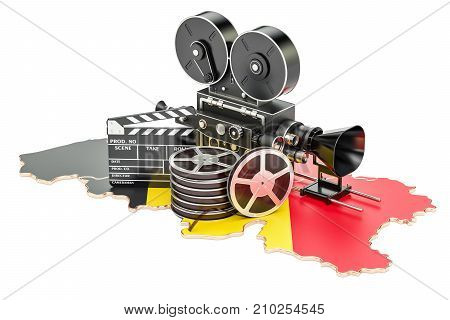 Belgian cinematography film industry concept. 3D rendering isolated on white background