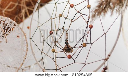 Beautiful Dream Catchers On White Background Close-up.