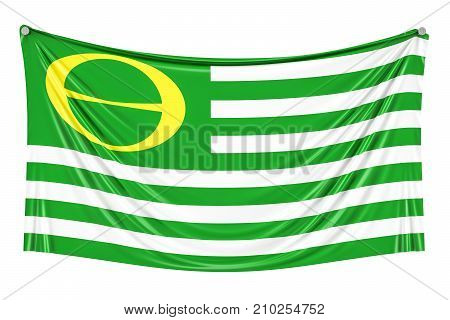 Ecology Flag waving in blue cloudy sky 3D rendering