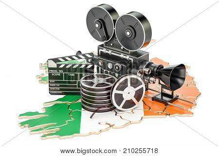 Irish cinematography film industry concept. 3D rendering isolated on white background