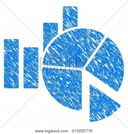 Grunge Statistics icon with scratched design and scratched texture. Unclean vector blue Statistics pictogram for rubber seal stamp imitations and watermarks. Draft sign symbol.