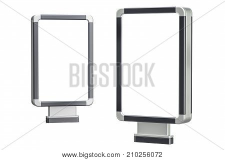 Set of outdoor light boxes billboards. 3D rendering isolated on white background