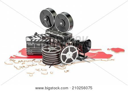 Singapore cinematography film industry concept. 3D rendering isolated on white background