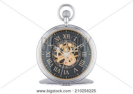 Vintage golden pocket watch with black dial face 3D rendering isolated on white background