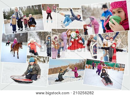 Collage with 14 people skating, skiing and sledding at winter outdoor