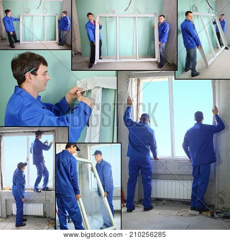 Two workers in blue work clothes prepare and set a new window in the window frame, collage.