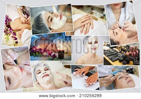 Collage with young happy woman in beauty salon, facial rejuvenation procedures