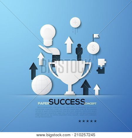 Paper concept of success, successful business development, revenue growth. White silhouettes of champion cup, dollar coin, arrows pointing upwards. Elements in minimalist style. Vector illustration.