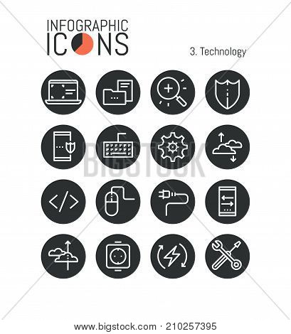 Bundle of thin line technology icons: software development, mobile security, cloud services, data storage, information protection, modern devices. Vector illustration for website, web page, brochure.
