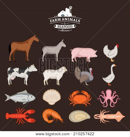 Vector farm animals and seafood collection. Livestock poultry and seafood icons collection for groceries meat stores and seafood shop