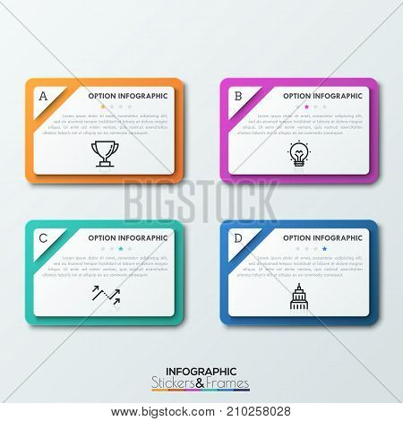 Four rectangles with separated corners, letters, text boxes, thin line icons and star rate assessment indication. Quality evaluation concept. Realistic infographic design layout. Vector illustration.