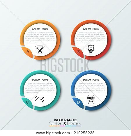 Four round elements with separated pieces, letters, thin line symbols and text boxes inside, 4 features of particular process concept. Realistic infographic design layout. Vector illustration.