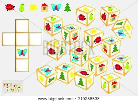 Logic puzzle. Find four identical cubes. Draw their pattern. Vector  cartoon image.