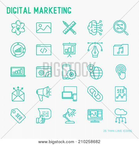 Digital marketing thin line icons set: searching idea, development, optimization, management, communication. Vector illustration for banner, web page, print media.