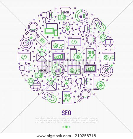 SEO and development concept in circle with thin line icons. Vector illustration for banner, web page, print media.