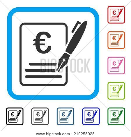 Euro Contract Signature icon. Flat grey pictogram symbol in a light blue rounded rectangular frame. Black, gray, green, blue, red, orange color versions of Euro Contract Signature vector.