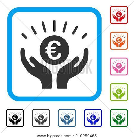 Euro Prosperity icon. Flat grey iconic symbol in a light blue rounded squared frame. Black, gray, green, blue, red, orange color versions of Euro Prosperity vector.
