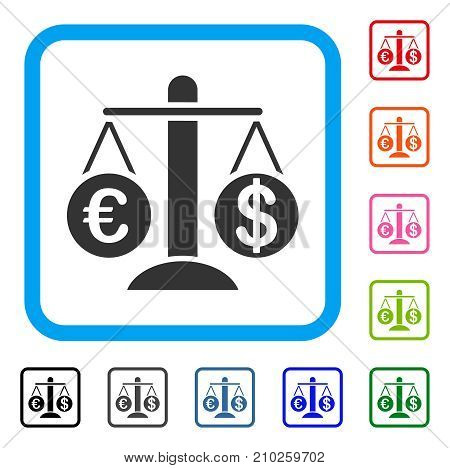 Currency Compare Scales icon. Flat grey iconic symbol in a light blue rounded squared frame. Black, gray, green, blue, red, orange color versions of Currency Compare Scales vector.