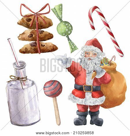 Watercolor Santa Claus and Christmas sweets. Hand painted Christmas character with bottle of milk, candies, cookies with ribbon isolated on white background. Holiday print for design, fabric.