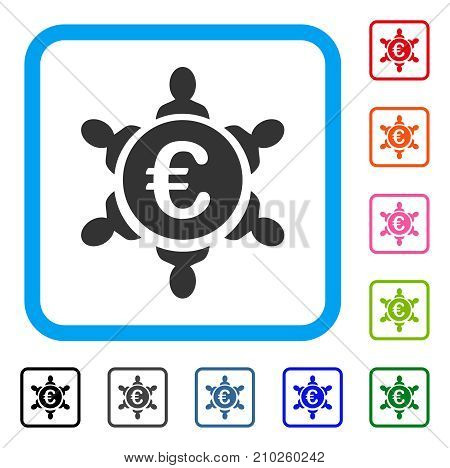 Euro Collaboration icon. Flat grey pictogram symbol in a light blue rounded rectangular frame. Black, gray, green, blue, red, orange color versions of Euro Collaboration vector.