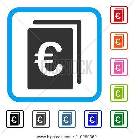 Euro Document icon. Flat grey pictogram symbol inside a light blue rounded squared frame. Black, gray, green, blue, red, orange color variants of Euro Document vector.