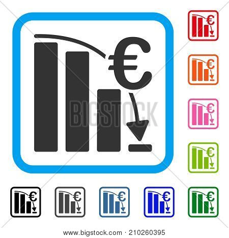 Euro Epic Fail Crisis icon. Flat gray pictogram symbol in a light blue rounded squared frame. Black, gray, green, blue, red, orange color versions of Euro Epic Fail Crisis vector.