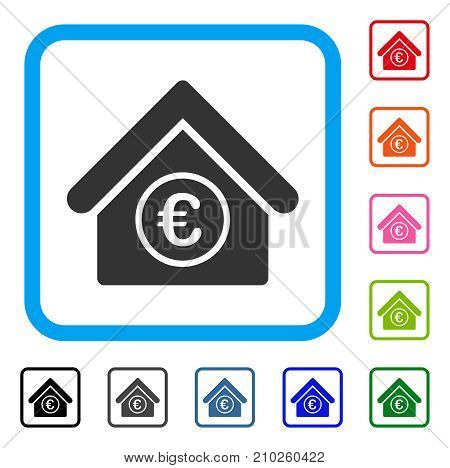 Euro Financial Center icon. Flat gray iconic symbol inside a light blue rounded frame. Black, gray, green, blue, red, orange color versions of Euro Financial Center vector.