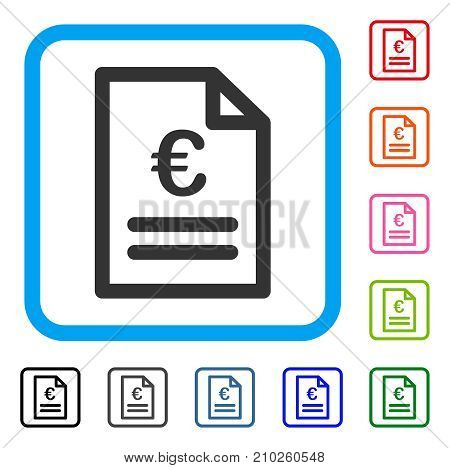 Euro Invoice icon. Flat grey iconic symbol inside a light blue rounded rectangle. Black, gray, green, blue, red, orange color versions of Euro Invoice vector.