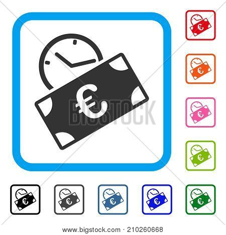 Euro Recurring Payment icon. Flat gray pictogram symbol in a light blue rounded frame. Black, gray, green, blue, red, orange color variants of Euro Recurring Payment vector.