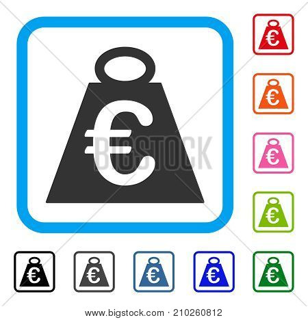 Euro Weight Standard icon. Flat grey pictogram symbol in a light blue rounded frame. Black, gray, green, blue, red, orange color variants of Euro Weight Standard vector.