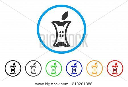 Apple Stump rounded icon. Style is a flat gray symbol inside light blue circle with additional color versions. Apple Stump vector designed for web and software interfaces.