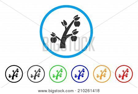 Apple Tree rounded icon. Style is a flat grey symbol inside light blue circle with bonus color versions. Apple Tree vector designed for web and software interfaces.