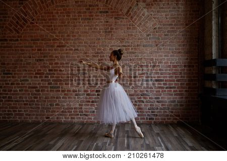 Sideways full lenght portrait of beautiful talented young prima ballerina wearing white tutu and ballet shoes training in studio preparing for performance sharpening her skills. Art and dance