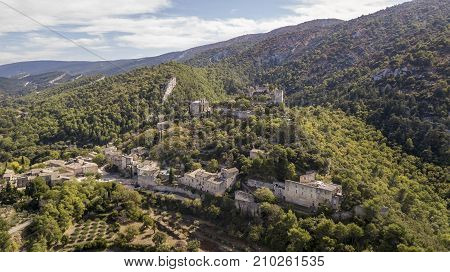 Aerial view of Oppede-le-Vieux, a ghost village in the Vaucluse department in southeastern France