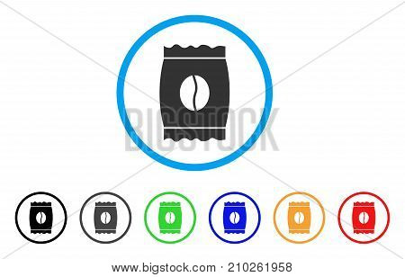 Coffee Bean Pack rounded icon. Style is a flat grey symbol inside light blue circle with bonus colored variants. Coffee Bean Pack vector designed for web and software interfaces.