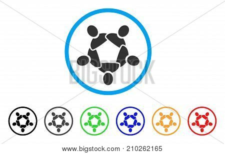 Collaboration rounded icon. Style is a flat grey symbol inside light blue circle with bonus colored versions. Collaboration vector designed for web and software interfaces.