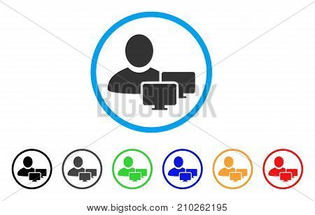 Computer Administrator rounded icon. Style is a flat grey symbol inside light blue circle with bonus colored versions. Computer Administrator vector designed for web and software interfaces.