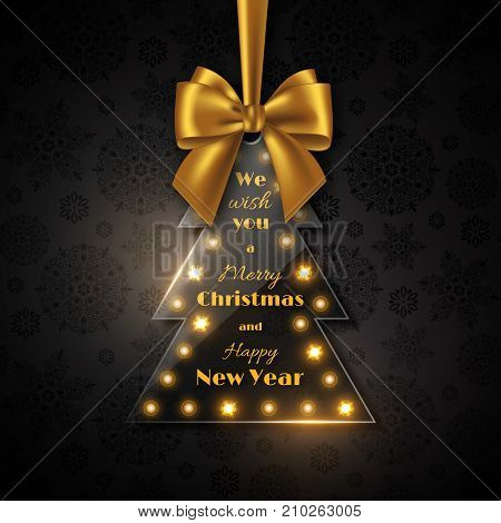 Merry Christmas and Happy New Year holiday design. Transparent glossy Christmas tree with golden bow black background snowflake pattern. Vector illustration.