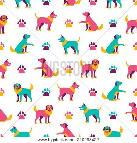 Seamless pattern with dogs and dog paws. Vector illustration.