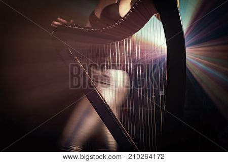 Electro harp in the rays of light